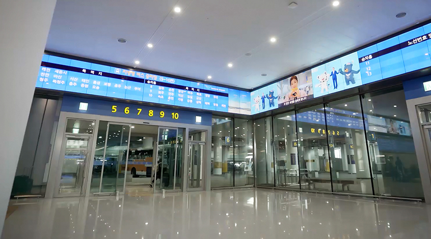 Part of the 175m-long video wall in Terminal 2's Transportation Center