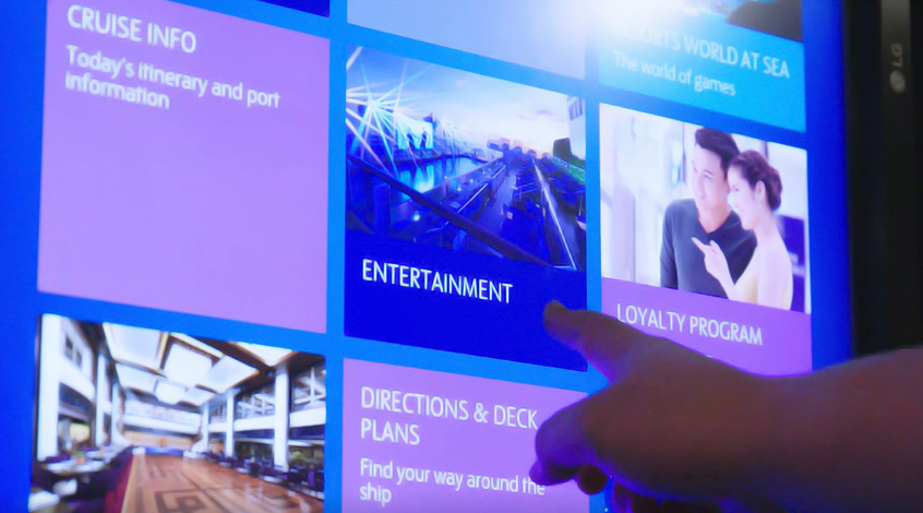 Interactive touch screens help cruise passengers