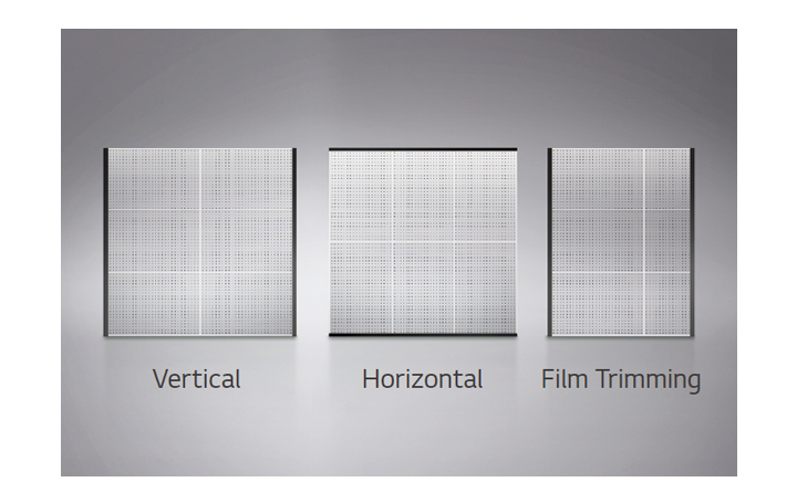 This image shows three cases to expand the size and layout of the films; vertical expansion, horizontal expansion, and expansion with trimmed films.