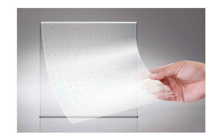 This shows that LED film can be attached to glass through the self-adhesiveness.