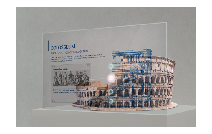 Information about the Colosseum is shown on the Transparent OLED screen set up in front of the Colosseum model.