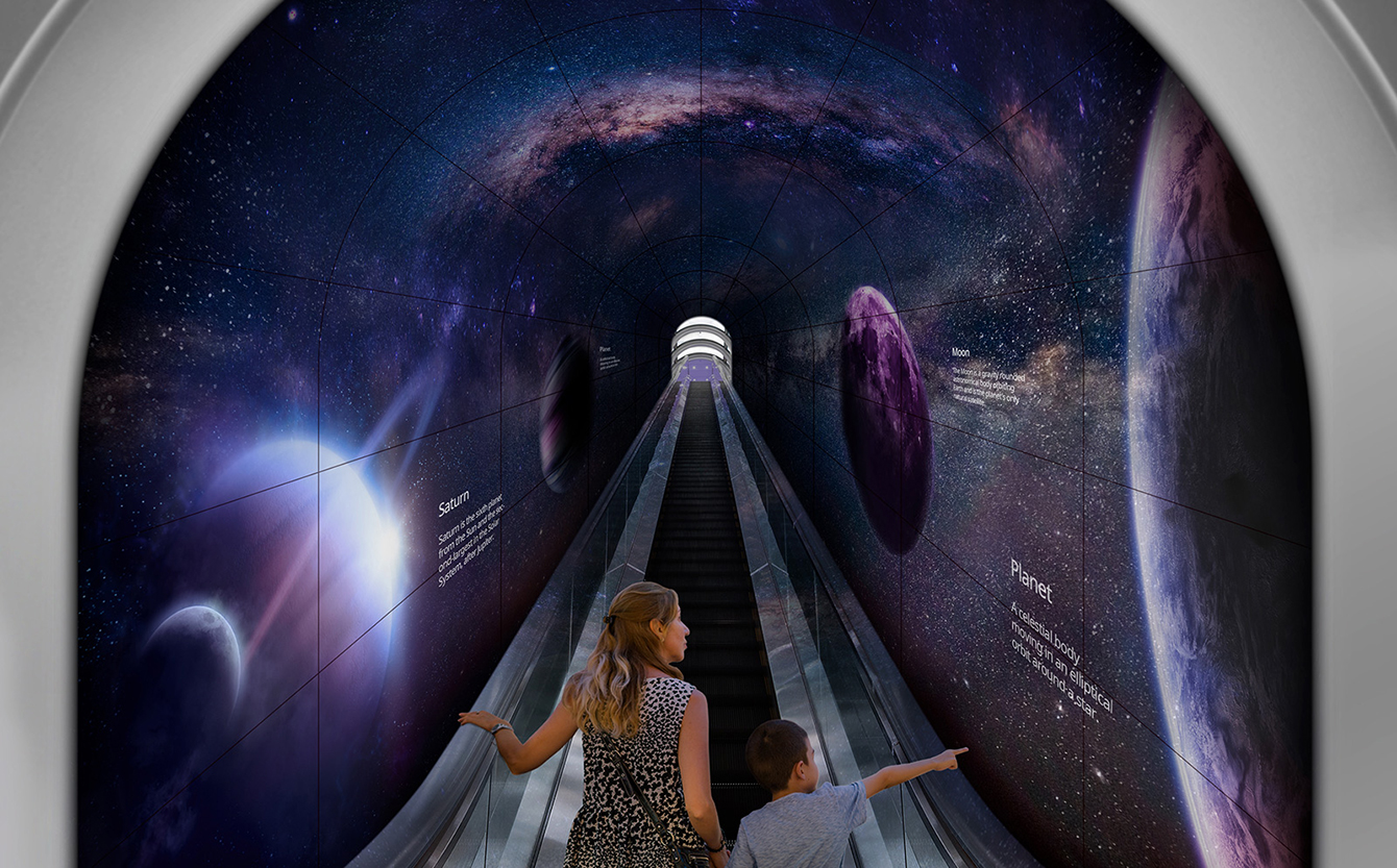 A woman and a child are going up a tunnel made of flexible Curved Open Frame OLED Signage through an escalator.