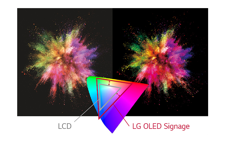 LG OLED Signage has a variety of colors rather than LCD to express the object more vividly.