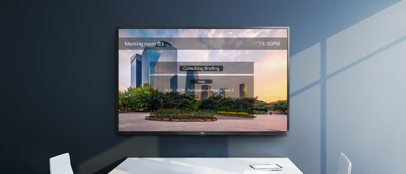 One:Quick Share PC application allows to adjust the settings of the signage without remote control.  And the signage on the wall shows one example of the Office Meeting Mode which users can set from the app.