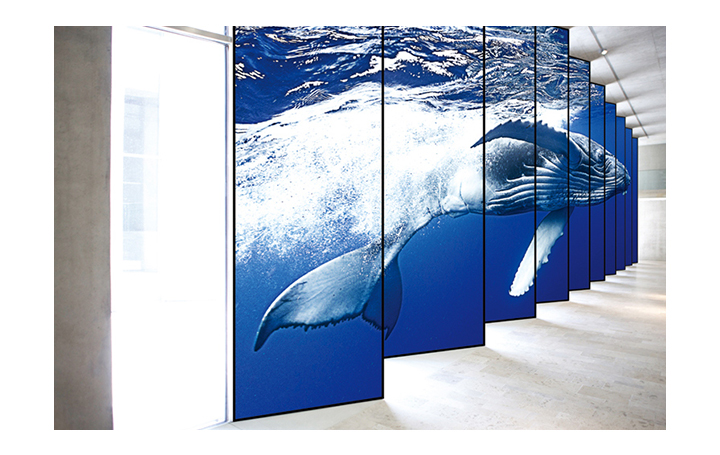Several vertically long screens are tiled to show a single content to increase immersion.