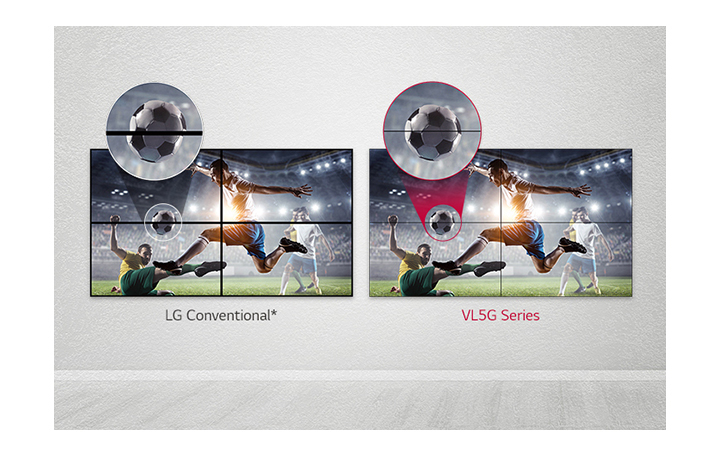 VL5G series has a less image gap between tiled screens compared to LG Conventional, so its content is seen well without being disturbed by the gap.