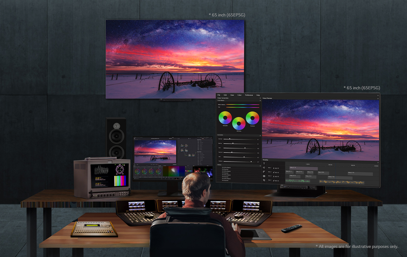 A man is working on video editing using two 65EP5Gs installed on walls and desks at his workplace.