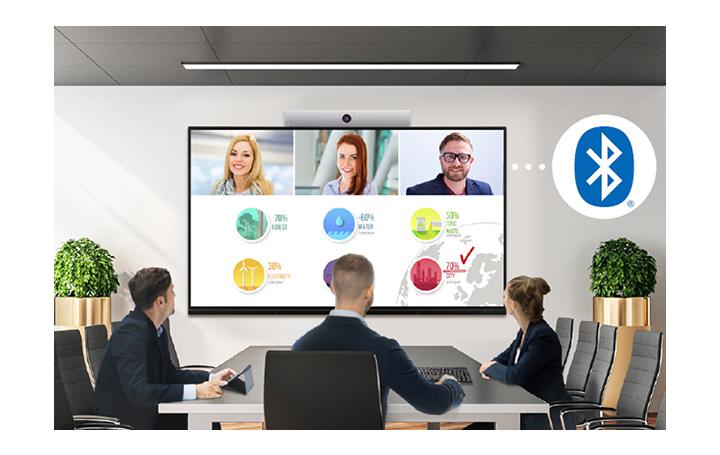 Tres personas se encuentran reunidas en una sala de conferencias, teniendo un encuentro virtual con otras personas que van apareciendo en la pantalla.