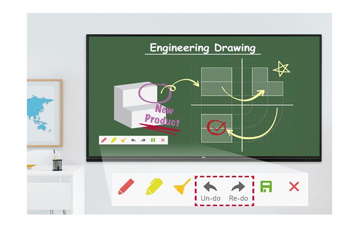 Clase de dibujo de ingeniería con la herramienta de anotación de TR3BF usando las funciones Deshacer y Rehacer.