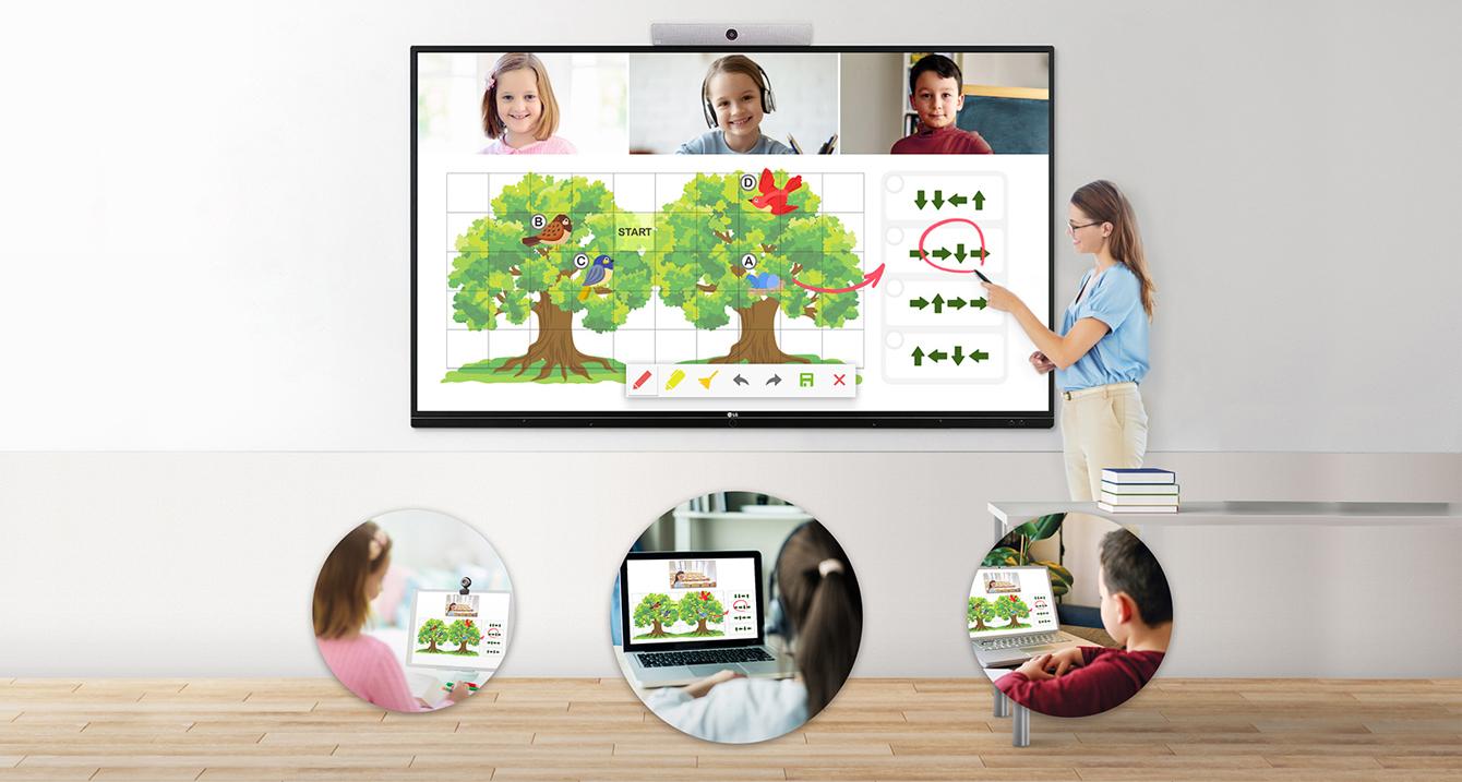 Cuando el profesor lo marca en el TR3BF, se muestra en las pantallas de los dispositivos electrónicos de los estudiantes al mismo tiempo.