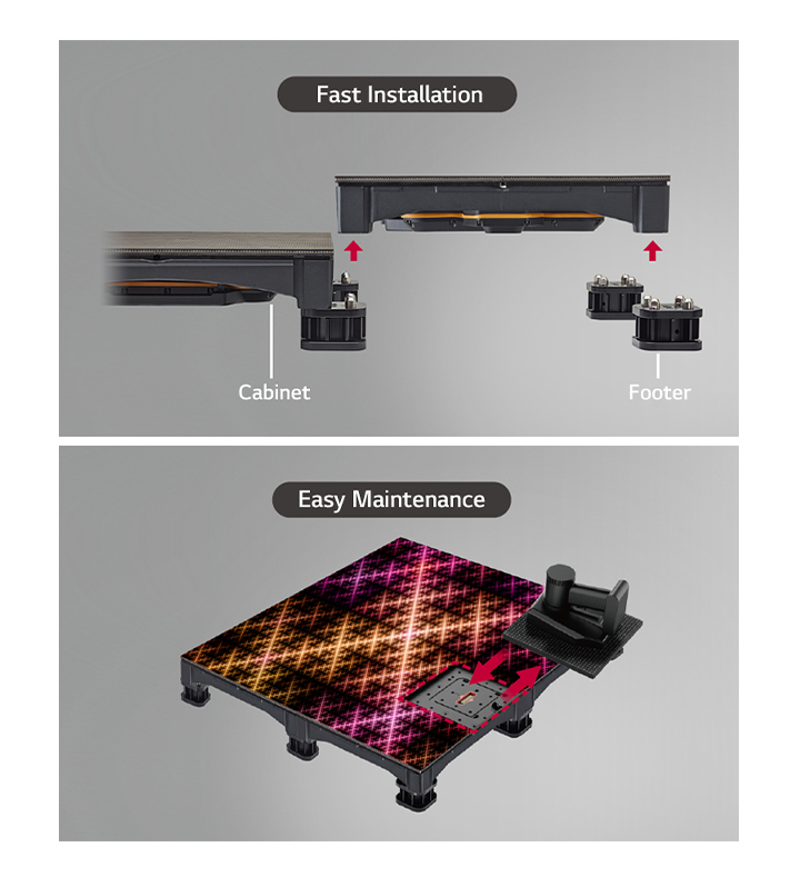 It is easy to install LFCG by simply fixing the cabinet with the footer, and the magnets attached to the LED module allow for easy maintenance with the screen on.