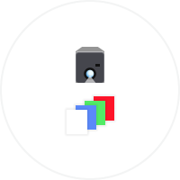 Icon of camera screening different colors