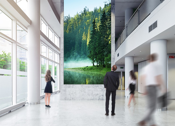 A giant LED Signage presenting a green forest is installed in the corporate lobby where lot's of people pass by.