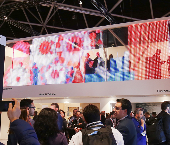 Our Transparent Color LED film, which catches the eyes of the people from the 2nd floor of the exhibition