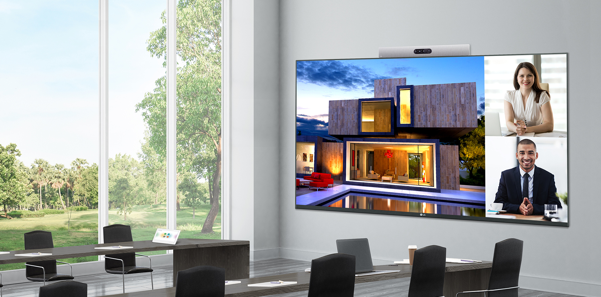 130 inch all-in-one LED screen installed in a meeting room.