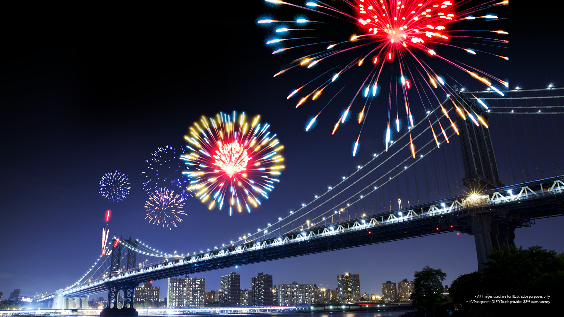 Fireworks displayed on the screen overlaid with the landscape view of the bridge in the city at night in the background.
