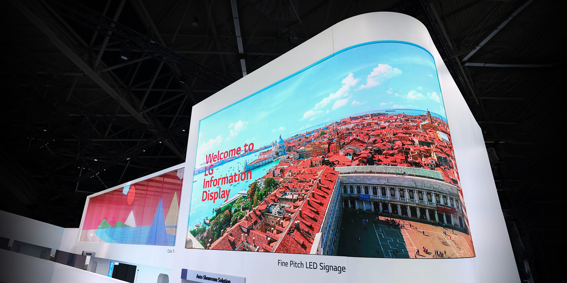 LG's Curved Fine Pitch LED Signage displayed at ISE 2019.