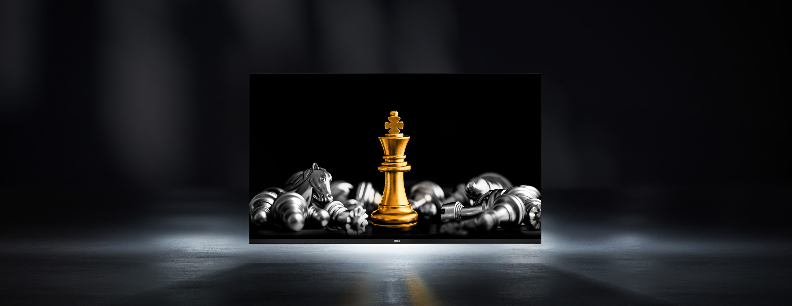 130 inch All-in-one LED screen showing chess pieces as its content.