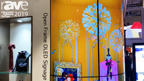 ISE 2019: LG Demos OLED Open Frame 55EV5E Display, Can Be Wrapped Around Into Pillar Application