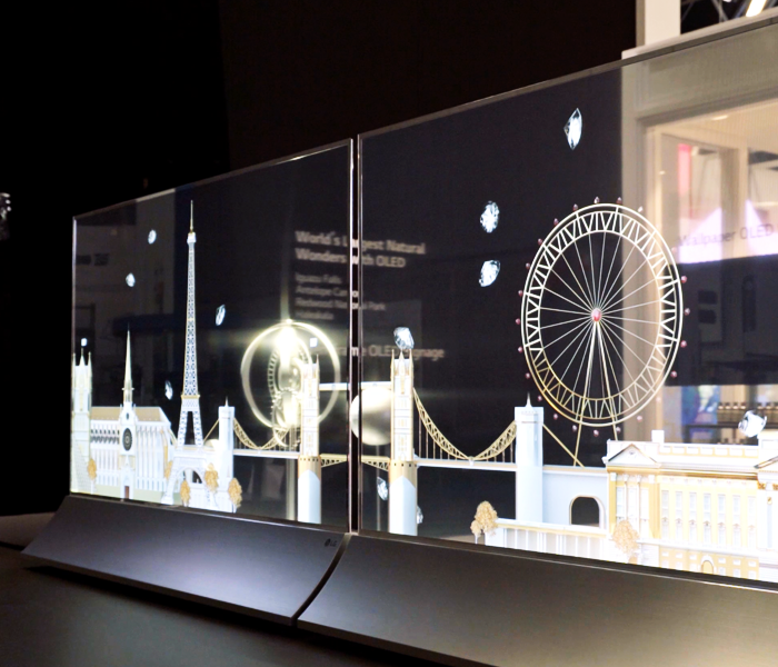 Our Transparent OLED signage, a piece of artwork itself