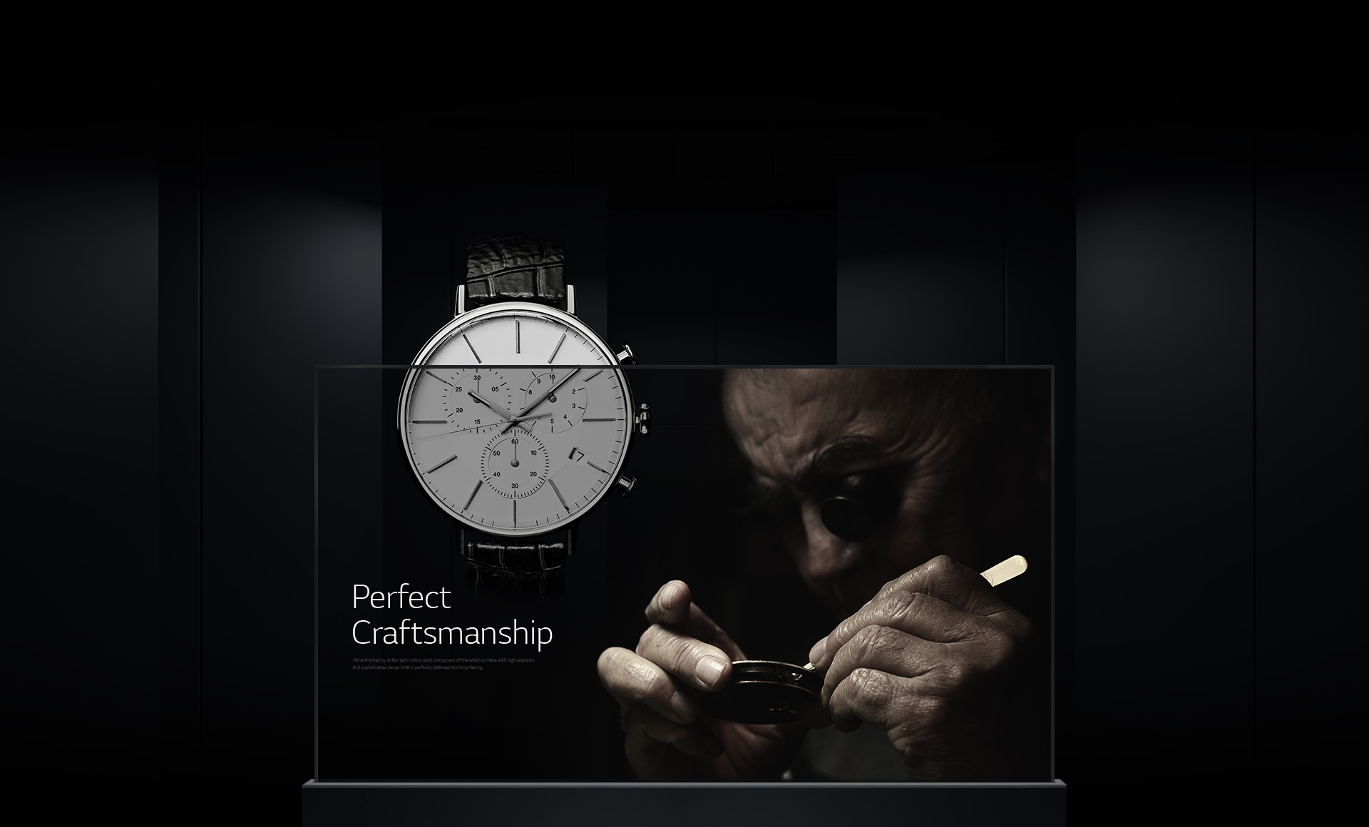 A professional craftsman displayed on a single Transparent OLED signage overlaid with a luxurious watch image in the background.