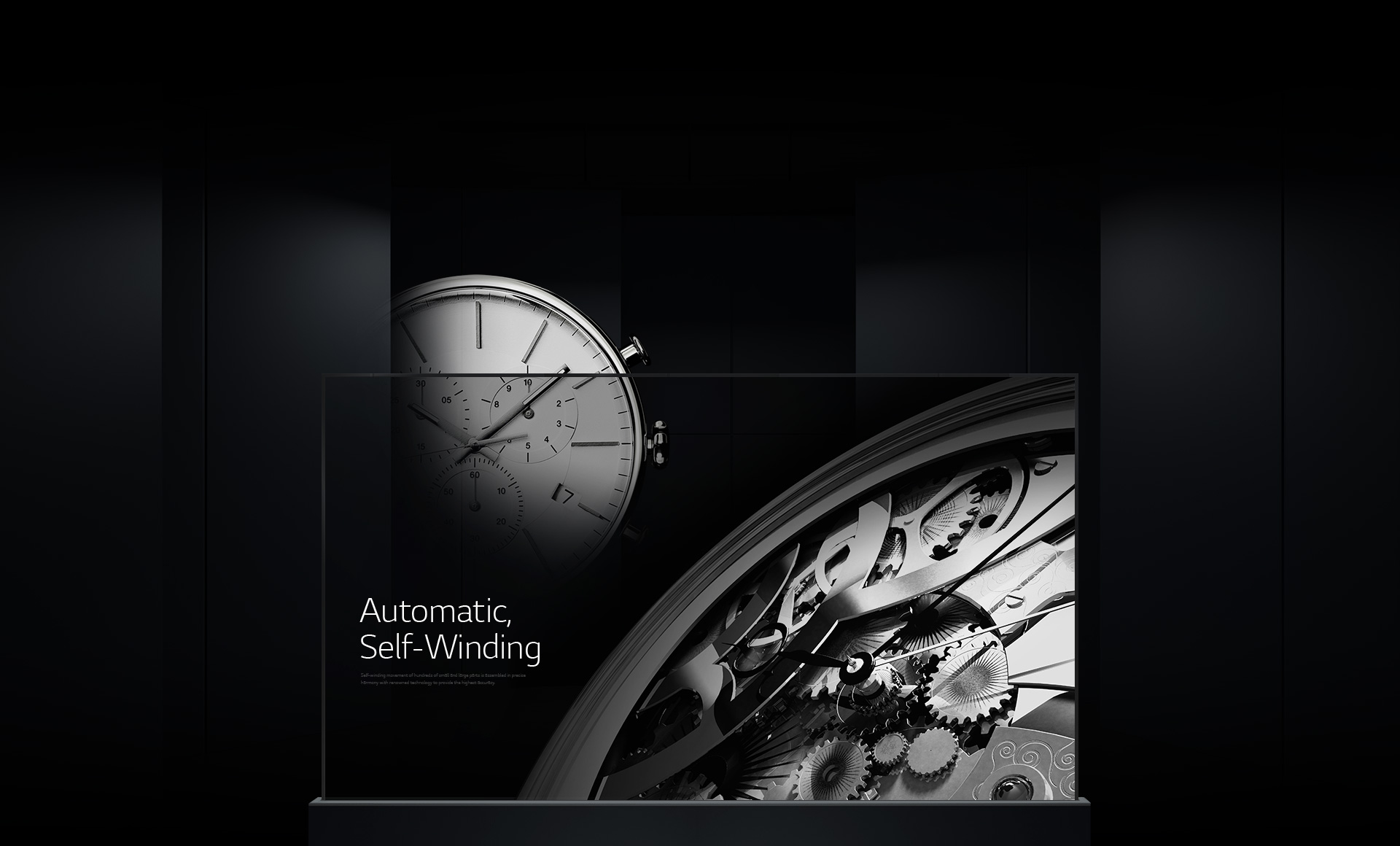 Imagery of automatic and movement parts displayed on a single Transparent OLED signage overlaid with a luxurious watch image in the background.