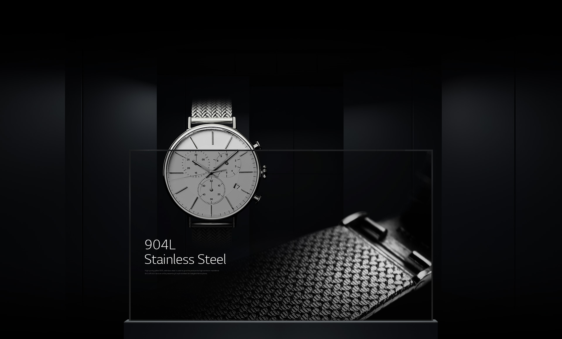 A close up shot of stainless steel bracelet material detail displayed on a single Transparent OLED signage overlaid with a luxurious watch image in the background.