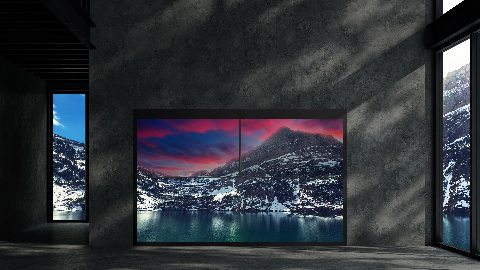 A sunset imagery displayed on a single Transparent OLED signage overlaid with the snowy mountain image in the background.